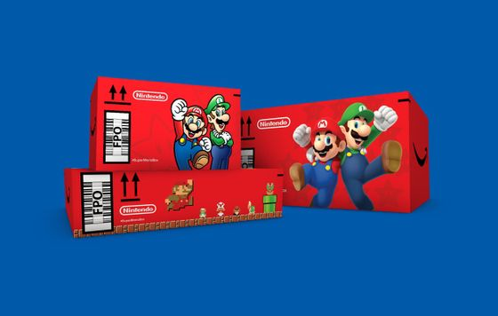 Super Mario Bros. Amazon cardboard shipment box 35th Anniversary November 2020