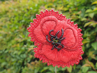 Poppy embroidery brooch