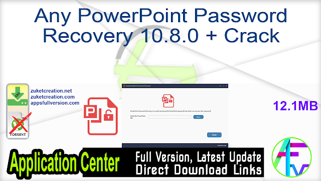 Any PowerPoint Password Recovery 10.8.0 + Crack