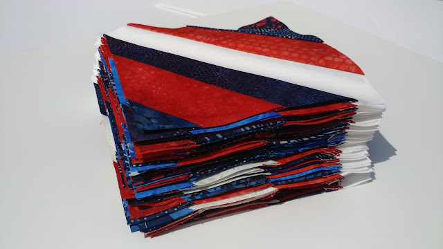 Red, white, and blue batik string blocks