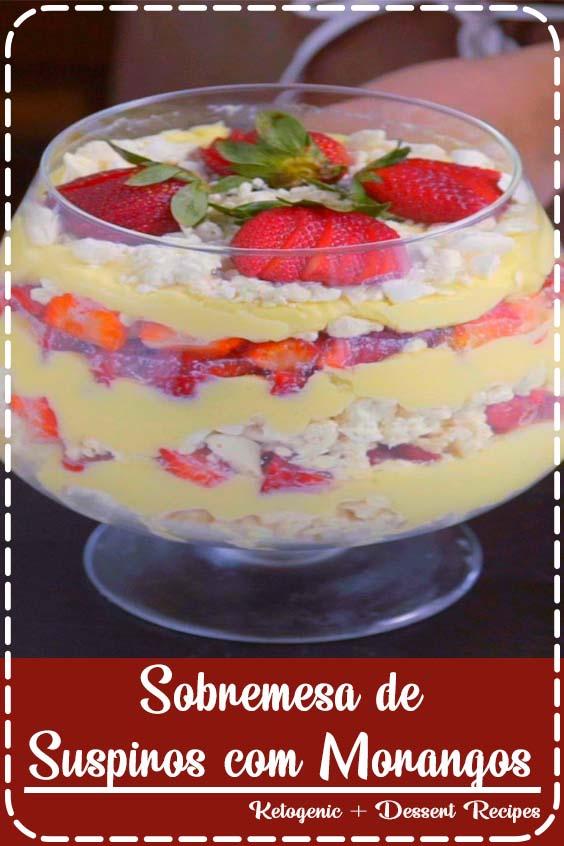 Essa sobremesa de suspiros com morangos vai fazer sucesso no almo Sobremesa de Suspiros com Morangos