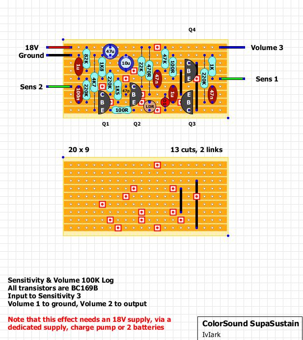guitar fx layouts colorsound supasustain. Black Bedroom Furniture Sets. Home Design Ideas