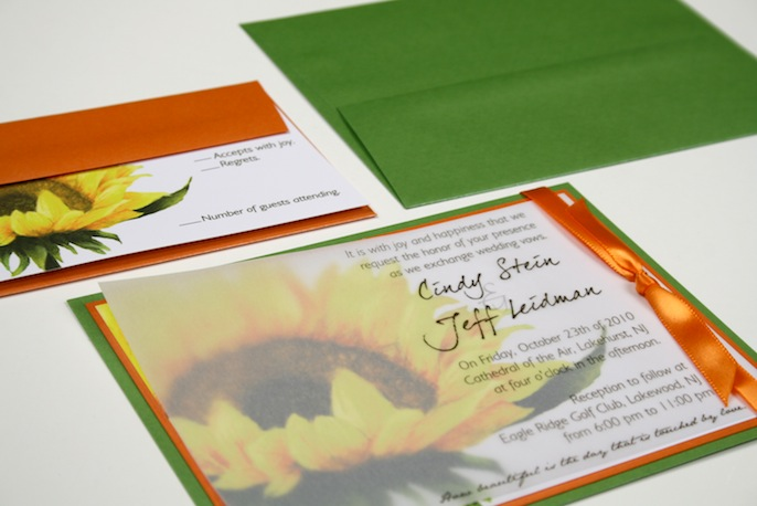 Orange and Green Wedding InvitationSunflower