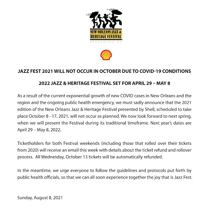 New Orleans Jazz Fest 2021 Has Been Cancelled
