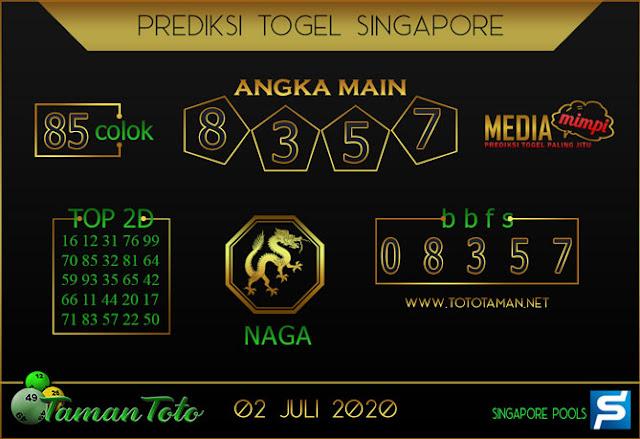 Prediksi Togel SINGAPORE TAMAN TOTO 02 JULI 2020