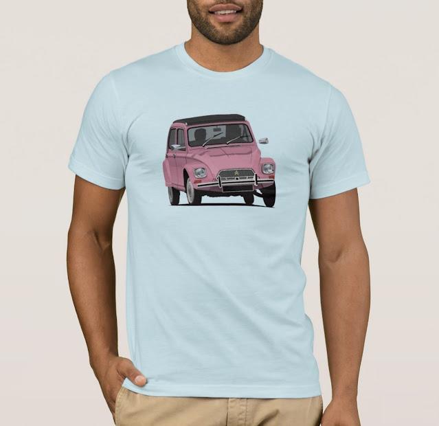Citroën Dyane t-shirt in pink - classic car t-shirts