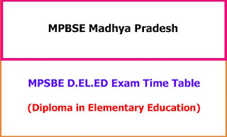 MPBSE DELED Time Table 2021