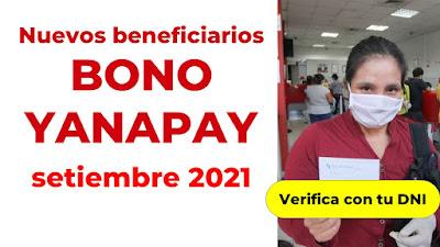 Bono YAPANAY nuevos beneficarios desde el 20 de setiembre GRUPO 2