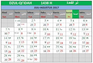 Kalender Islam Bersatu Bulan Dzulqi'idah 1438 H