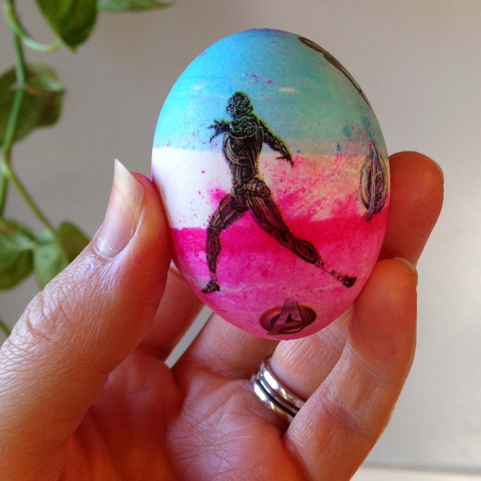 Decorating Easter eggs with temporary tattoos