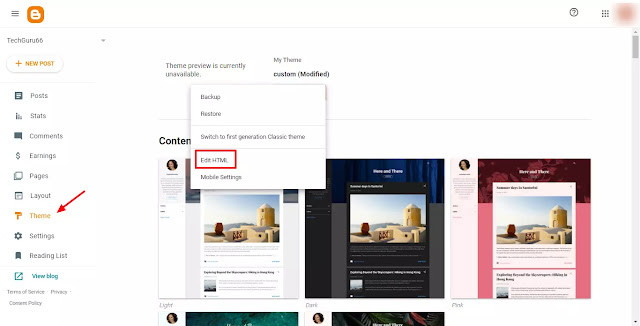 This image shows How to make Table of Contents / Add table of contents Step 1:- Firstly, you have to login to your blog where you want to add your Table of content (TOC). Then, click on the theme option and click on edit HTML like as shown in image.