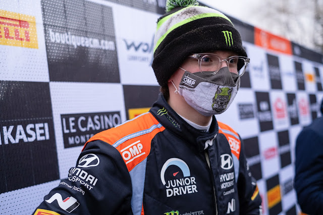 Oliver Solberg in racing driver suit