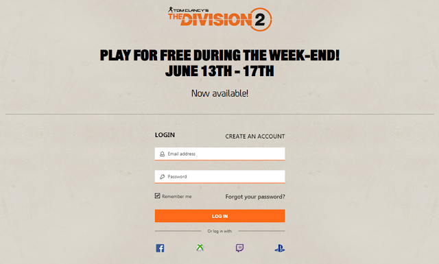 The Division 2 Free Weekend Login Page