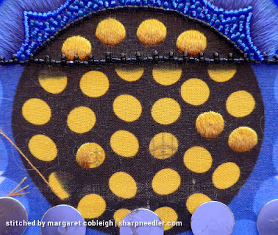 Japanese Bead Embroidery Project Wild Child: Small gold discs at bottom of purse with needlepainted shading