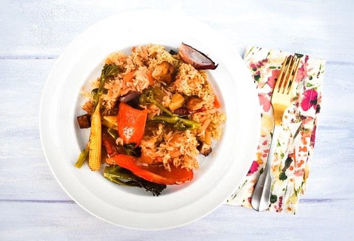 Chinese Sweet & Sour Tofu Rice Bake