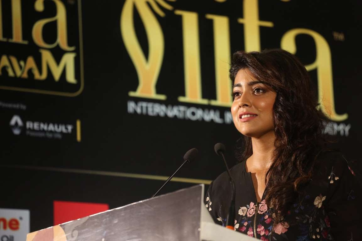 Shriya Saran addresses the audience during IIFA Utsavam  press meet