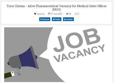 Alive Pharmaceutical Job Vacancy for Medical Sales Officer (MSO)