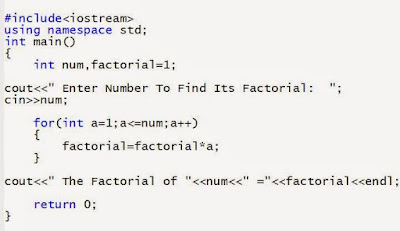 write C++ Program to find factorial of Number