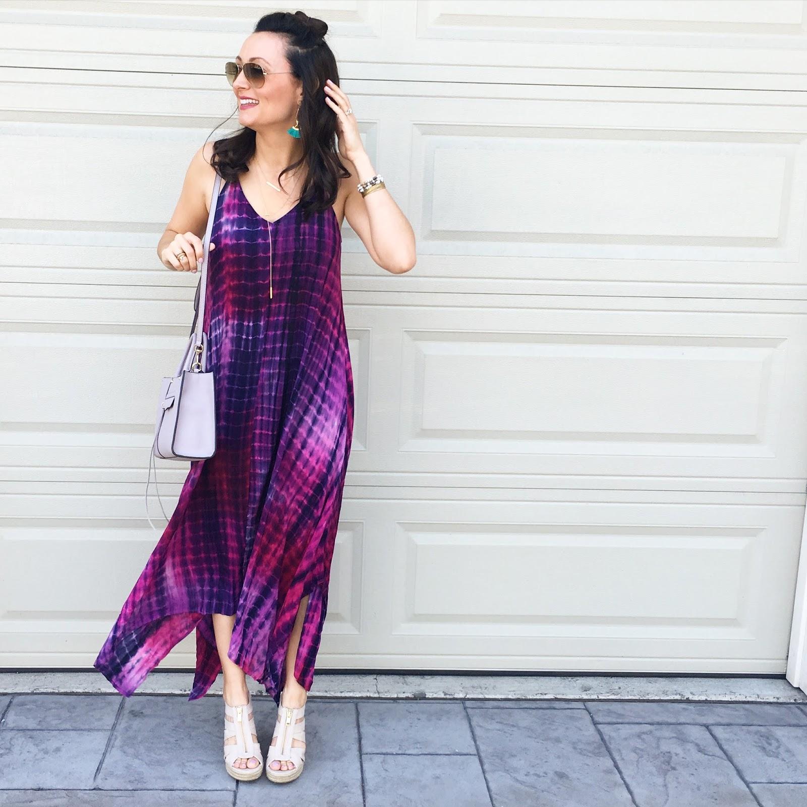 Ashley Donielle June 2016 Fiction Peplum Dress Purple Colorful Tie Dye Maxi