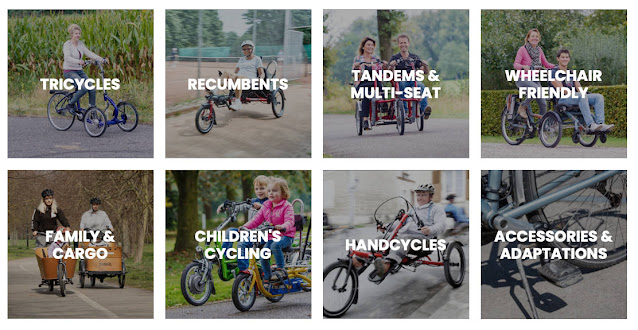 Different types of cycle: Tricycles, recumbents, tandems and multi-seat, wheelchair-friendly, etc.
