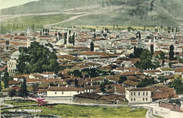 Панорамска разгледница од Битола со поглед од Смилевски Баир, во 1908 година.