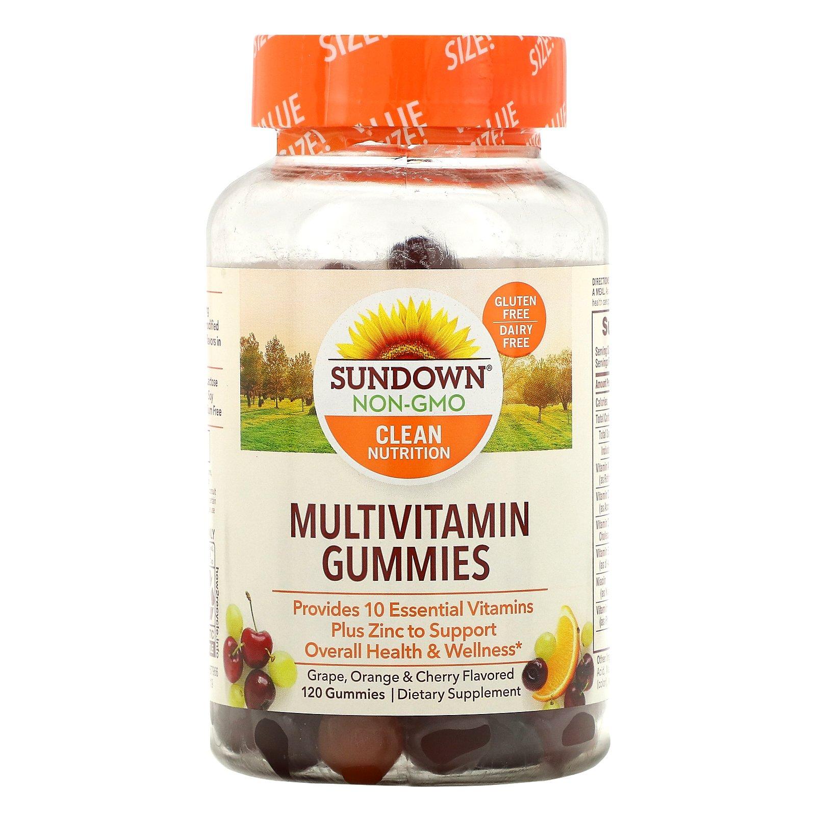 Sundown Naturals, Мультивитаминные жевательные конфеты, со вкусом винограда, апельсина и вишни, 120 шт.
