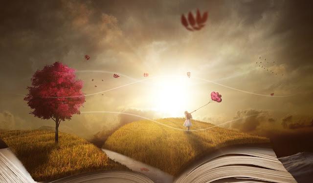 Осень, книга, небо, фантазия, сказка