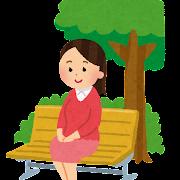 公園のベンチに座っている女性のイラスト