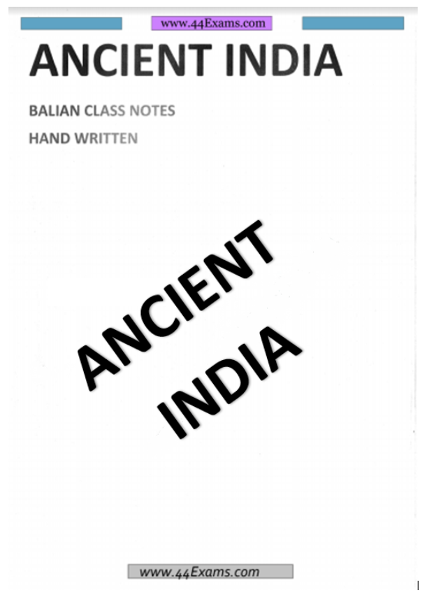 Ancient India Hand Written Notes by Bilian Class : For UPSC Exam PDF Book