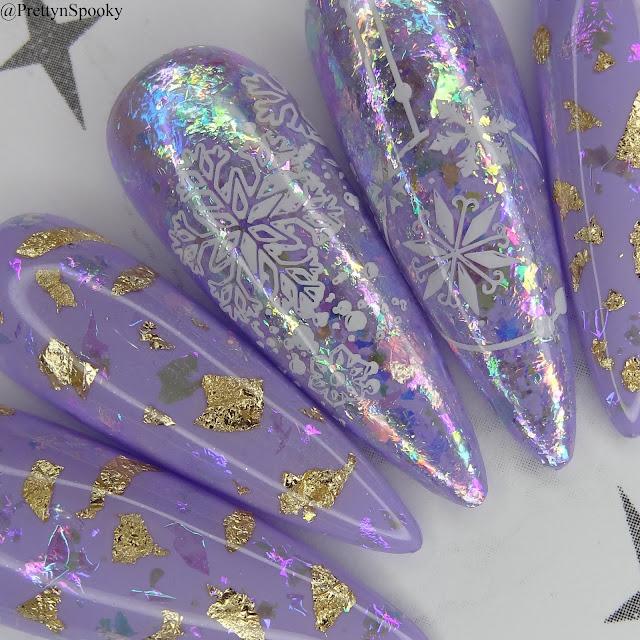 Pastel Purple Flakie Winter Nails