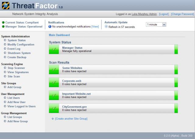 ThreatFactor NSIA Dashboard Image