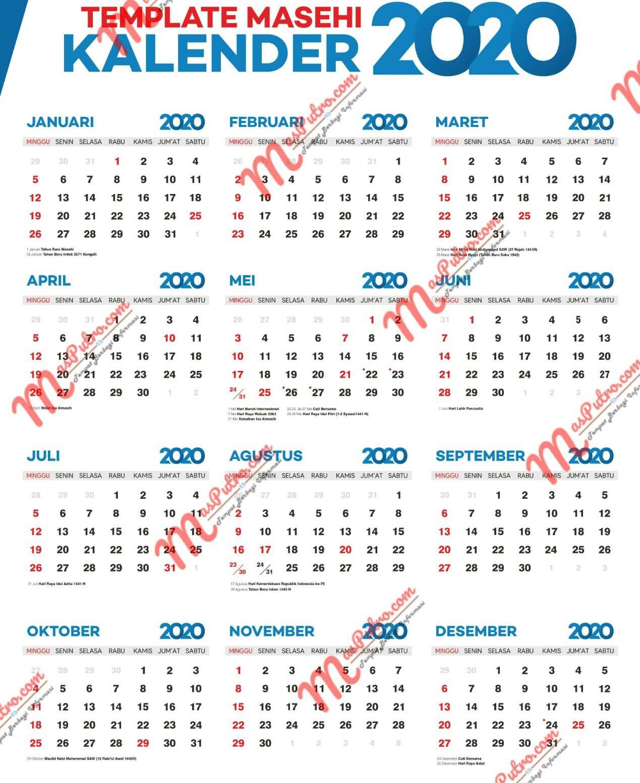 Template Kalender Tahun 2020 Gratis !!!