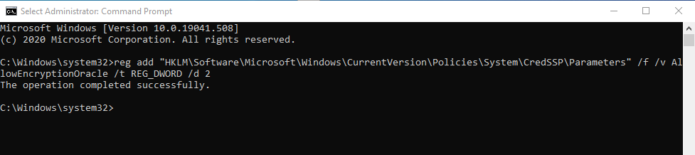CredSSP Fix Code
