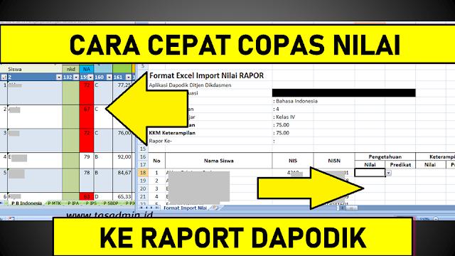cara cepat memasukan nilai raport dapodik