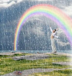 sonhar com chuva de arco íris