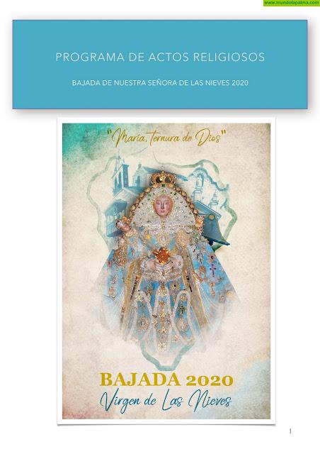 Programa de Actos Religiosos de La Bajada de La Virgen de Las Nieves 2020