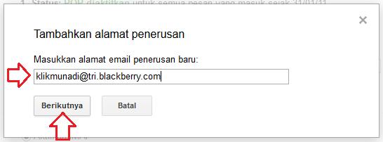 Masukkan Alamat Email Penerusan Baru