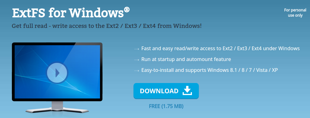 Membaca Partisi Linux Ext2 / Ext3 / Ext4 di Windows ExtFS