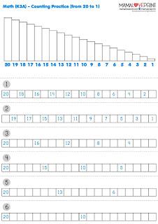 Mama Love Print 自製工作紙  - 數學 Level 3 - 數字的倒數 (20以內) 練習題 Counting Backwards 20 Kindergarten Math Worksheet Free Download