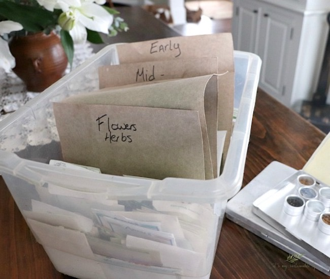 Organizing and Storing Leftover Garden Seeds by It's My Sustainable Life featured at Pieced Pastimes