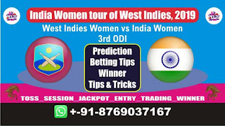 Womens ODI IN-W vs WI-W 3rd ODI Match Prediction Today India Women tour of West Indies, 2019