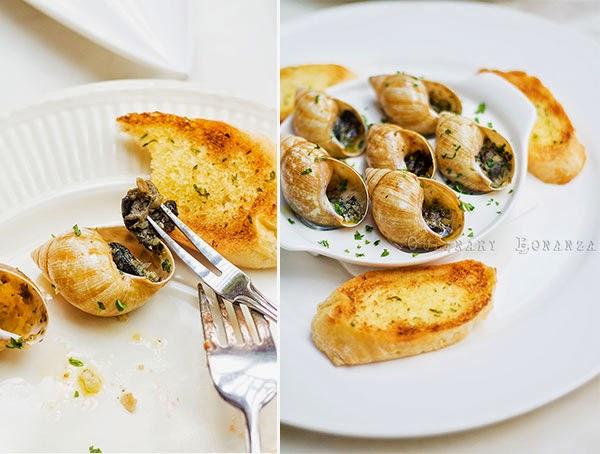 Escargots in generous garlic and butter.