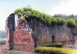 夏草や…… / 安平・台南の風景。朽ちかけたレンガの城壁