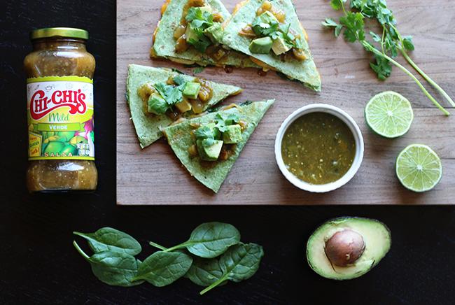 Salsa Verde, Avocado, + Spinach Quesadillas