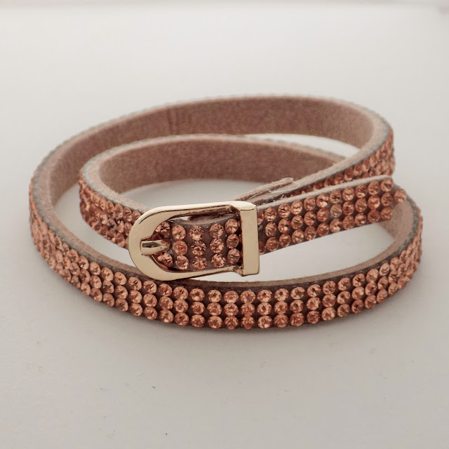 Rose gold diamante wrap bracelet with buckle www.lizzyo.co.uk