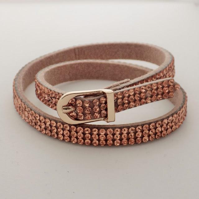 Rose gold diamante wrap bracelet with buckle www.lizzyo.co.uk
