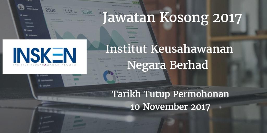 Jawatan Kosong INSKEN 10 November 2017