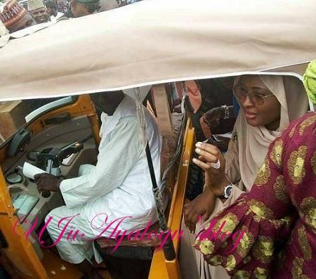 PHOTOS: Aisha Buhari Spotted In Tricycle (Keke Marwa)