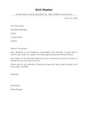 Order confirmation letter samples