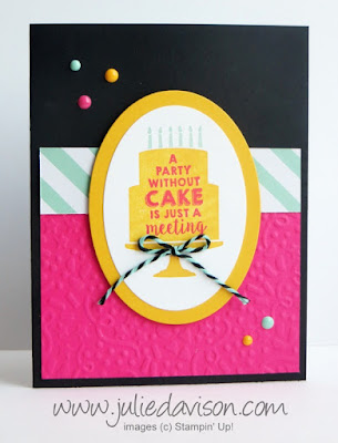 Stampin' Up! Party Wishes Birthday Card for Julie's Stamp of the Month Club #stampinup 2016 Occasions Catalog www.juliedavison.com